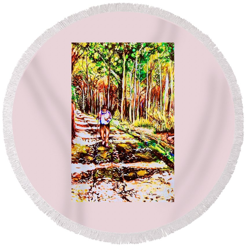 The Road Not Taken Robert Frost Poem Round Beach Towel featuring the painting The Road Not Taken by Carole Spandau