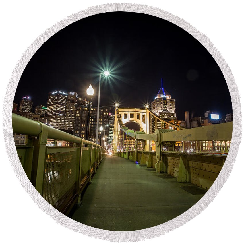 Pittsburgh Skyline Bridge Night Yellow Pirates Steelers River Pennsylvania Urban Pa. Jimmy Taaffe Round Beach Towel featuring the photograph The Roberto Clemente Bridge by Jimmy Taaffe