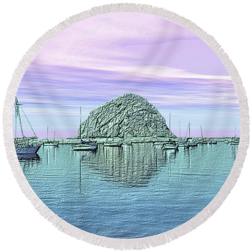 Seascape Round Beach Towel featuring the photograph The Rock by Kurt Van Wagner