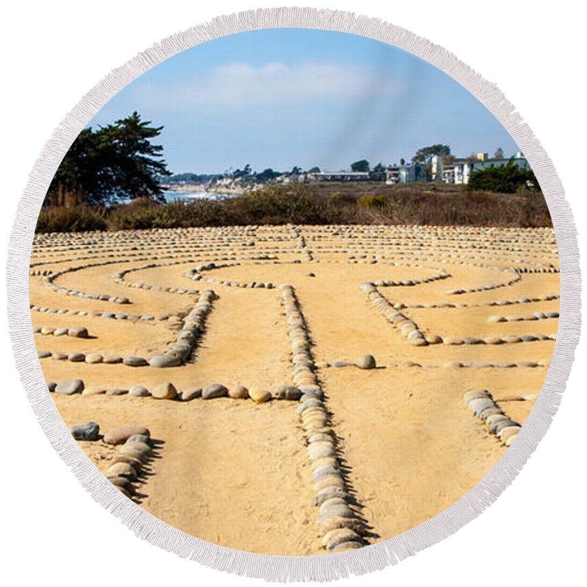 Rocks Round Beach Towel featuring the photograph The Rock Maze Santa Barbara by Cathy Smith