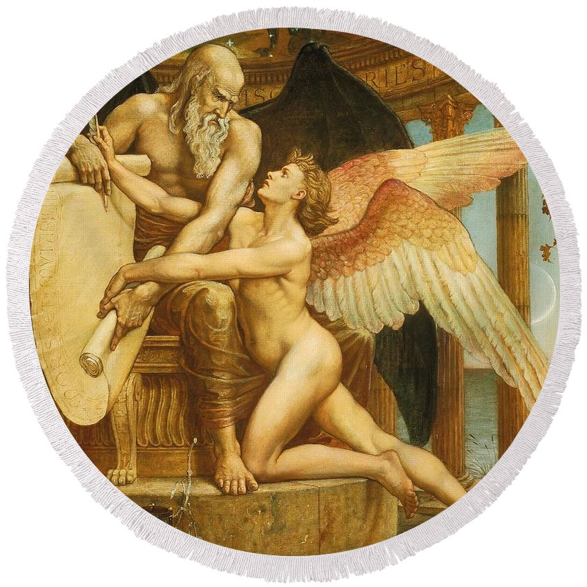 Roll; Fate; Destiny; Time; Youth; Life; Male; Nude; Nudes; Young; Naked; Father Time; Wings; Winged; Beauty; Blank; Pen; Quill; Throne; Enthrones; Hourglass; Laurel; Fame; Allegory; Allegorical; Neoclassical; Neo-classical; Neo Classical; Gilt Frame; Frame; Framed; Poem; Plea; Pleading; Appeal; Unwritten; Inevitable; The Future; History; The Rubaiyat Of Omar Khayyam; Illustration; Literature; Edward Fitzgerald; Rubaiyat; Omar Khayyam Round Beach Towel featuring the painting The Roll Of Fate by Walter Crane