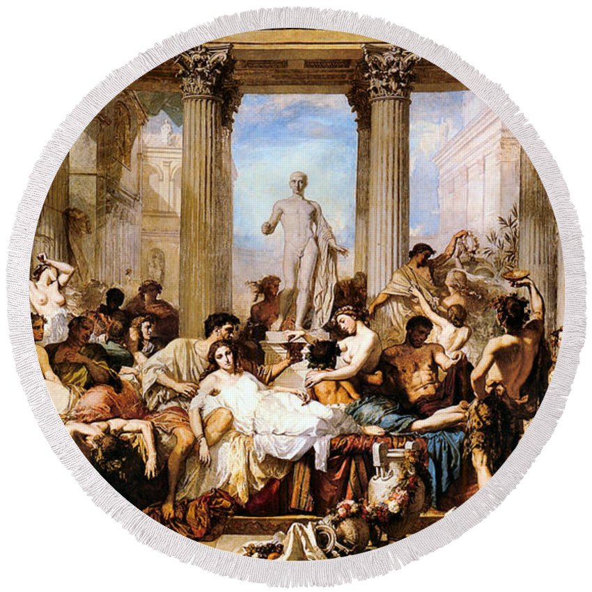 Thomas Couture Round Beach Towel featuring the digital art The Romans Of The Decadence by Thomas Couture