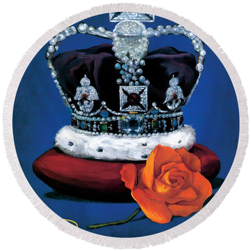 Rose & Crown Round Beach Towel featuring the painting The Rose & Crown by Peter Green