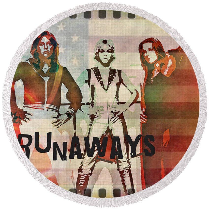 The Runaways Round Beach Towel featuring the digital art The Runaways - 1977 by Absinthe Art By Michelle LeAnn Scott