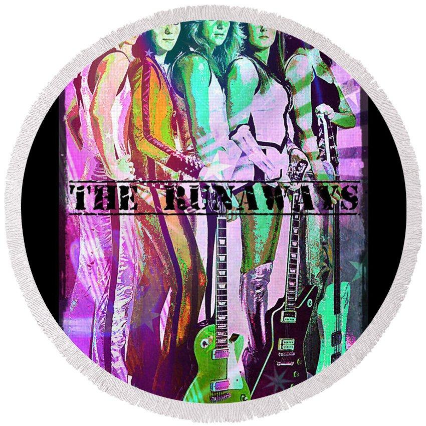 The Runaways Round Beach Towel featuring the digital art The Runaways by Absinthe Art By Michelle LeAnn Scott