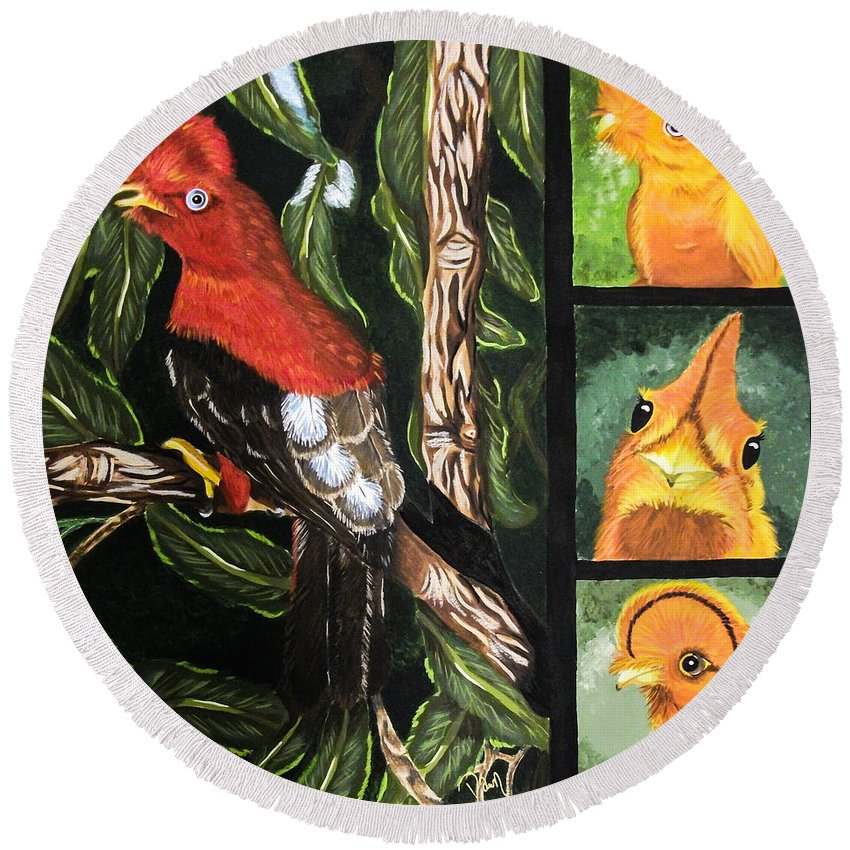Bird. Trees. South America. Nature. Wildlife. Tropical. Cock Of The Rock Bird. Fine Art. Fun Design. Round Beach Towel featuring the painting The Rupicola Family by Dawn Siegler