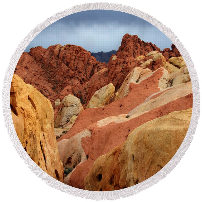 Sandstone Round Beach Towel featuring the photograph Valley Of Fire Nevada 1 by Bob Christopher