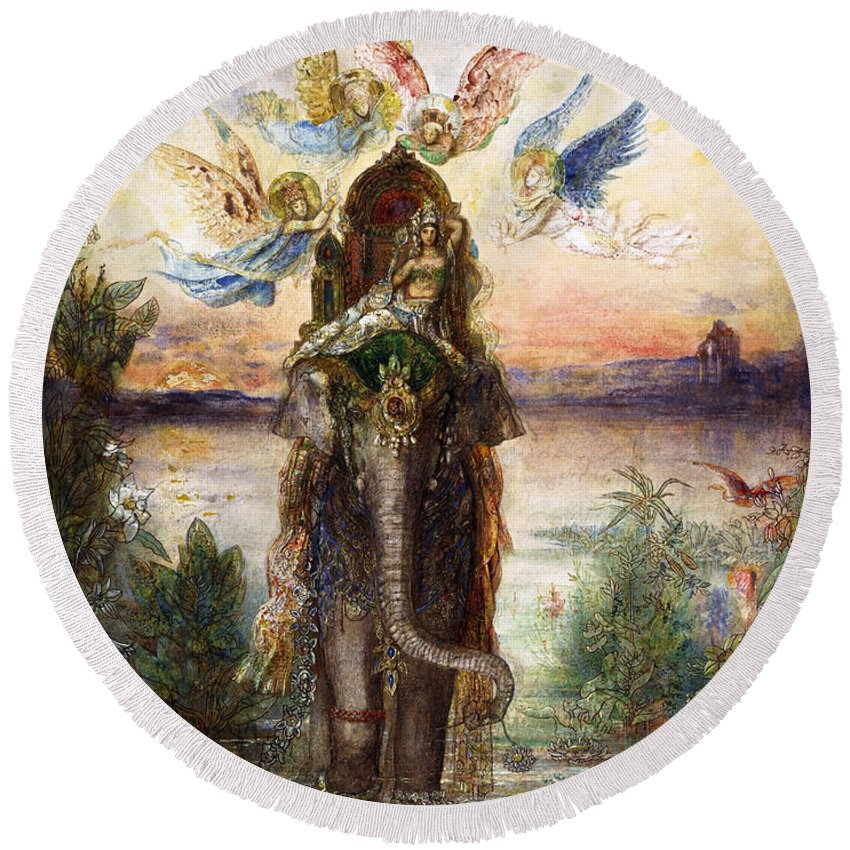 Gustave Moreau Round Beach Towel featuring the painting The Sacred Elephant by Gustave Moreau