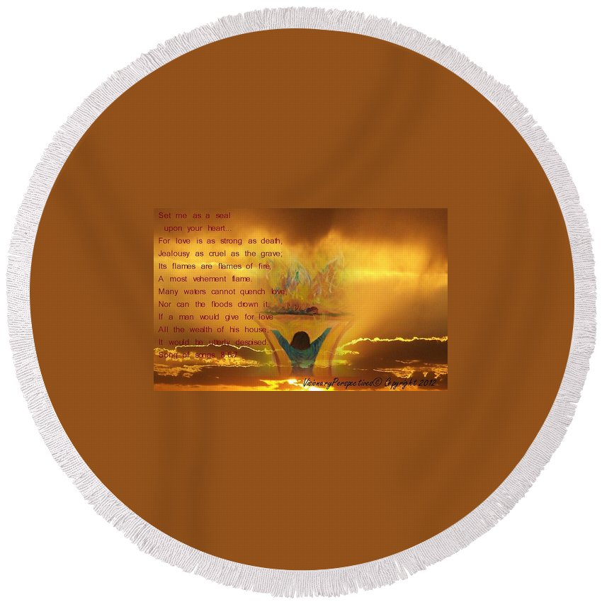 Sacrifice Of Praise Round Beach Towel featuring the digital art The Sacrifice Of Praise by Jewell McChesney
