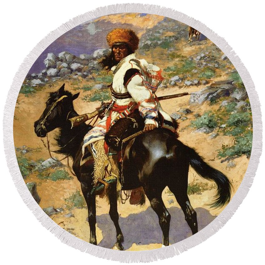 Frederic Remington Round Beach Towel featuring the digital art The Scout Friends Or Enemies by Frederic Remington