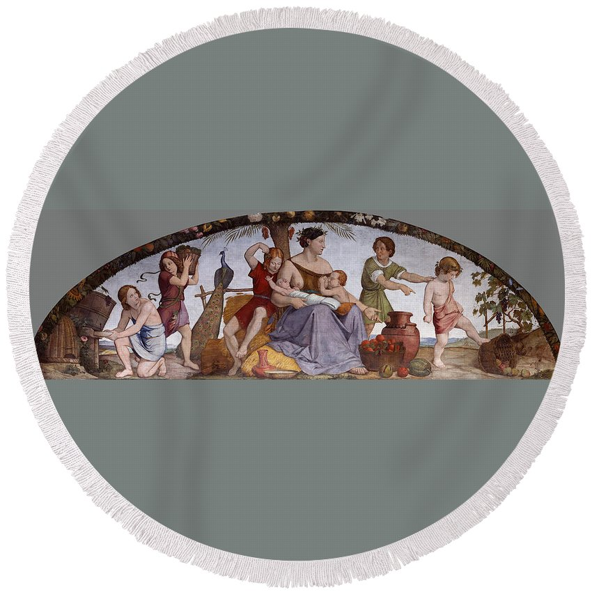 Friedrich Overbeck Round Beach Towel featuring the painting The Selling Of Joseph by Friedrich Overbeck