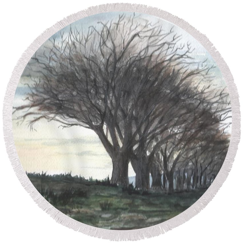 Watercolor Round Beach Towel featuring the painting The Sentinels by Brenda Owen