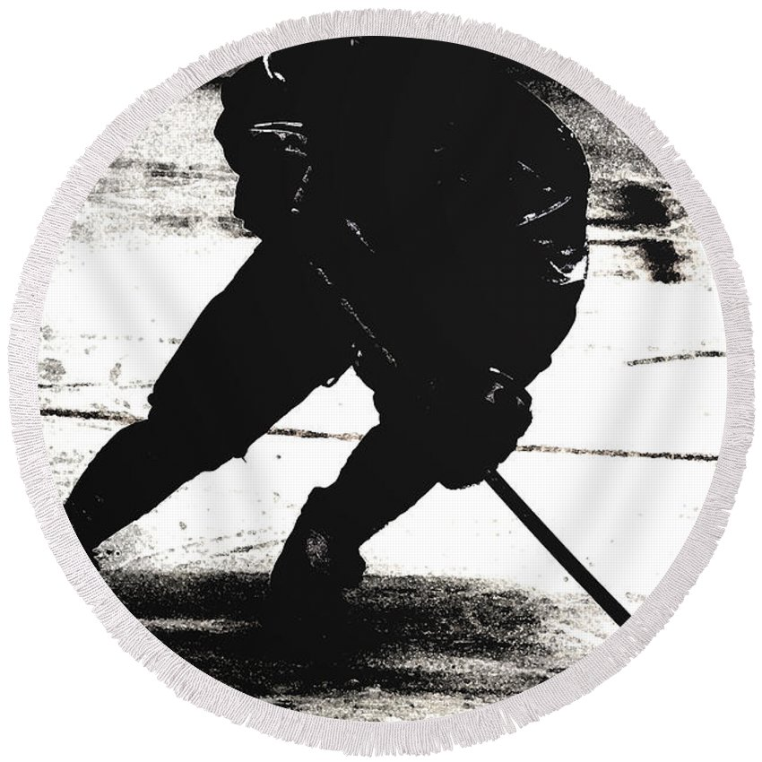 Hockey Round Beach Towel featuring the photograph The Shadows Of Hockey by Karol Livote