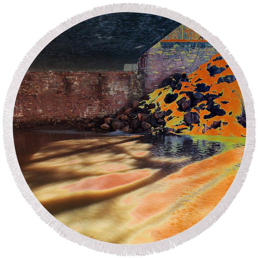Bridge Round Beach Towel featuring the photograph The Shadows Under The Bridge by David Pantuso
