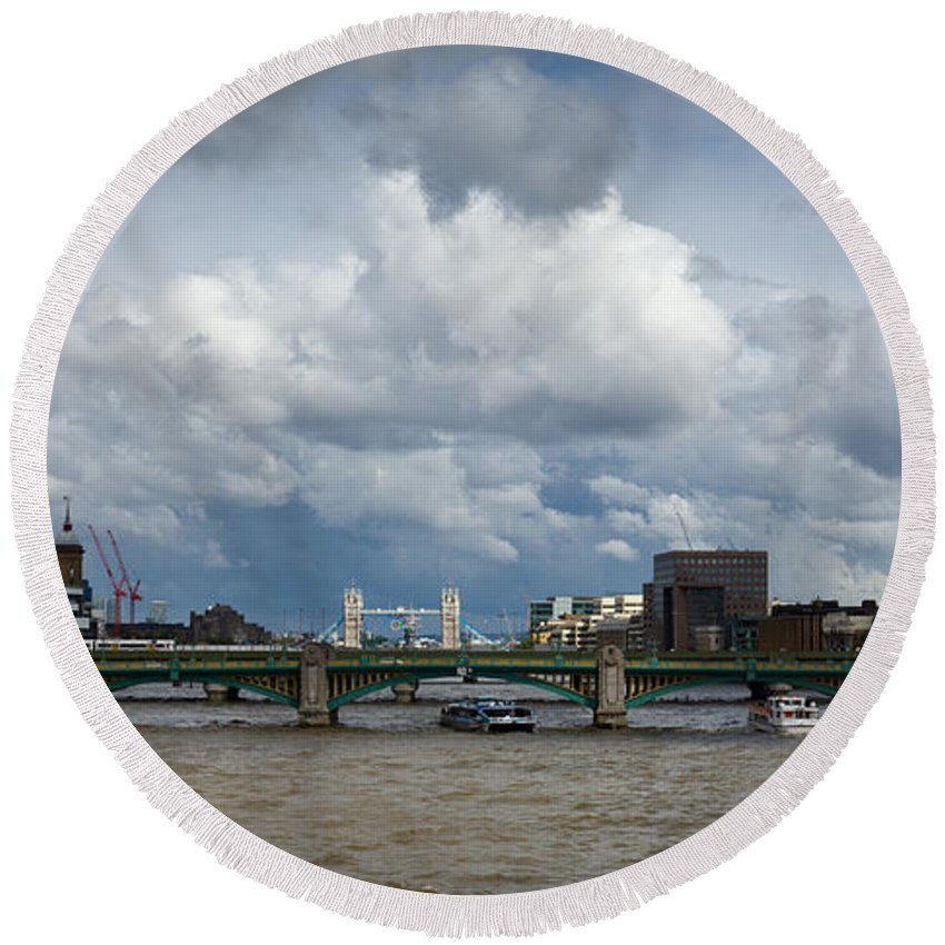Shard Round Beach Towel featuring the photograph The Shard And Thames View by Gary Eason