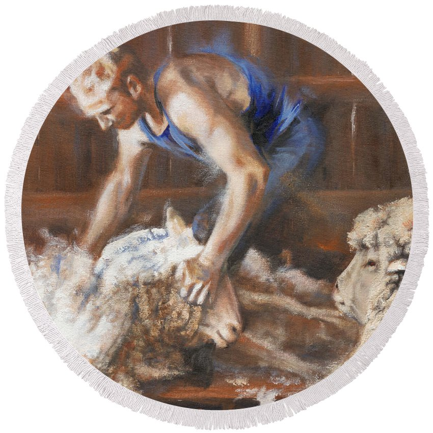 Sheep Round Beach Towel featuring the painting The Shearing by Mia DeLode