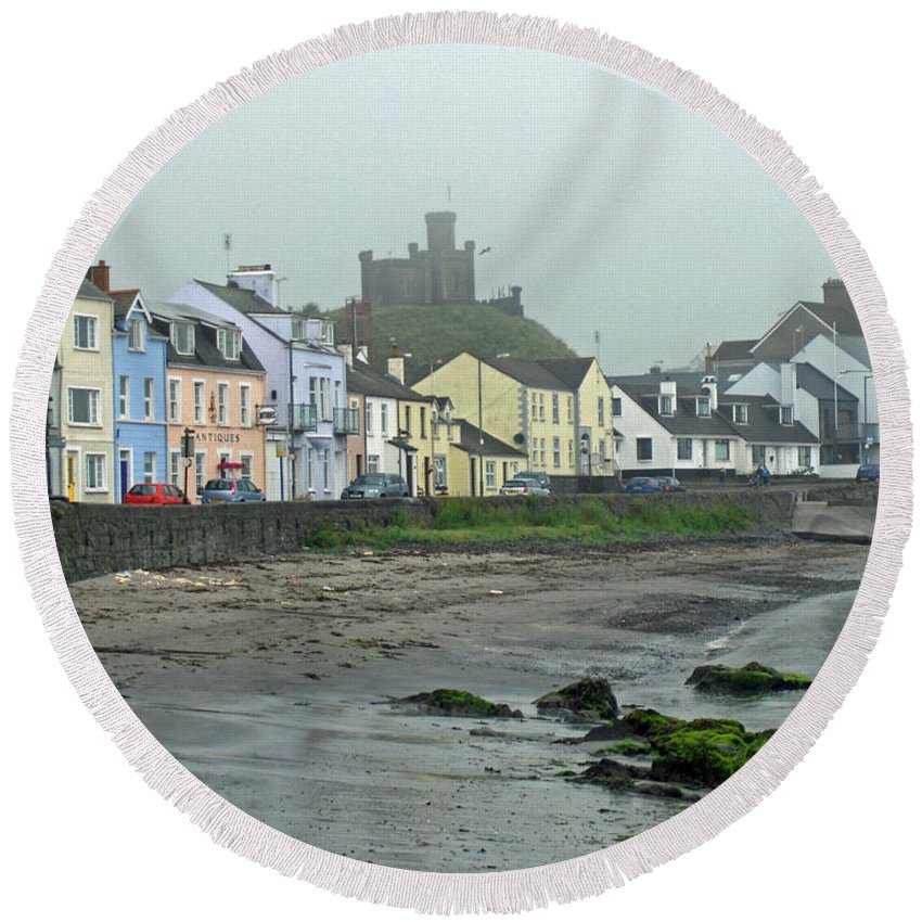 Village Round Beach Towel featuring the photograph The Shores Of Ireland by Brenda Brown