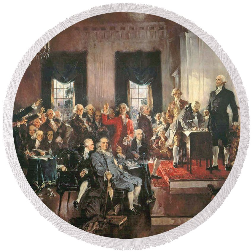 Congress Round Beach Towel featuring the painting The Signing Of The Constitution Of The United States In 1787 by Howard Chandler Christy