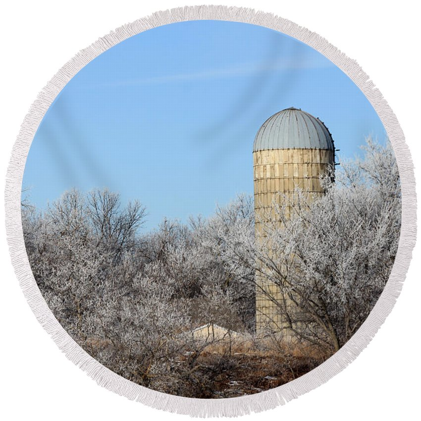 Silo Round Beach Towel featuring the photograph The Silo by Lori Tordsen
