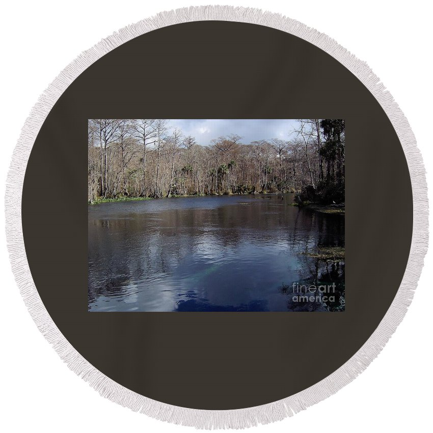 River Round Beach Towel featuring the photograph The Silver River by D Hackett