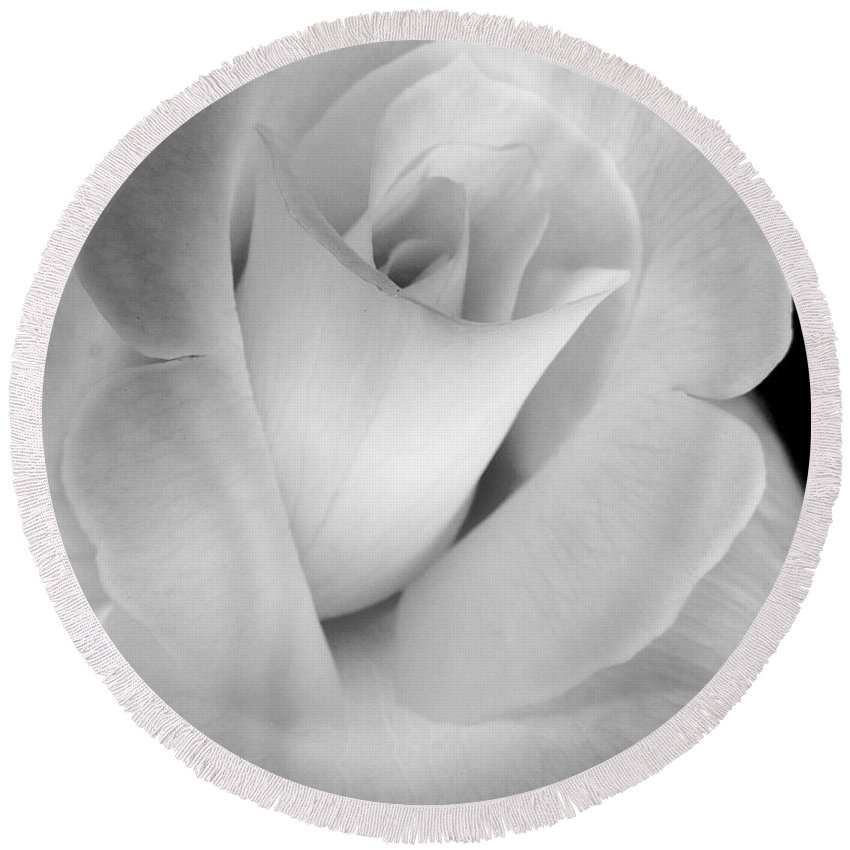 Rose Round Beach Towel featuring the photograph The Silver Rose In Portrait by Jennie Marie Schell