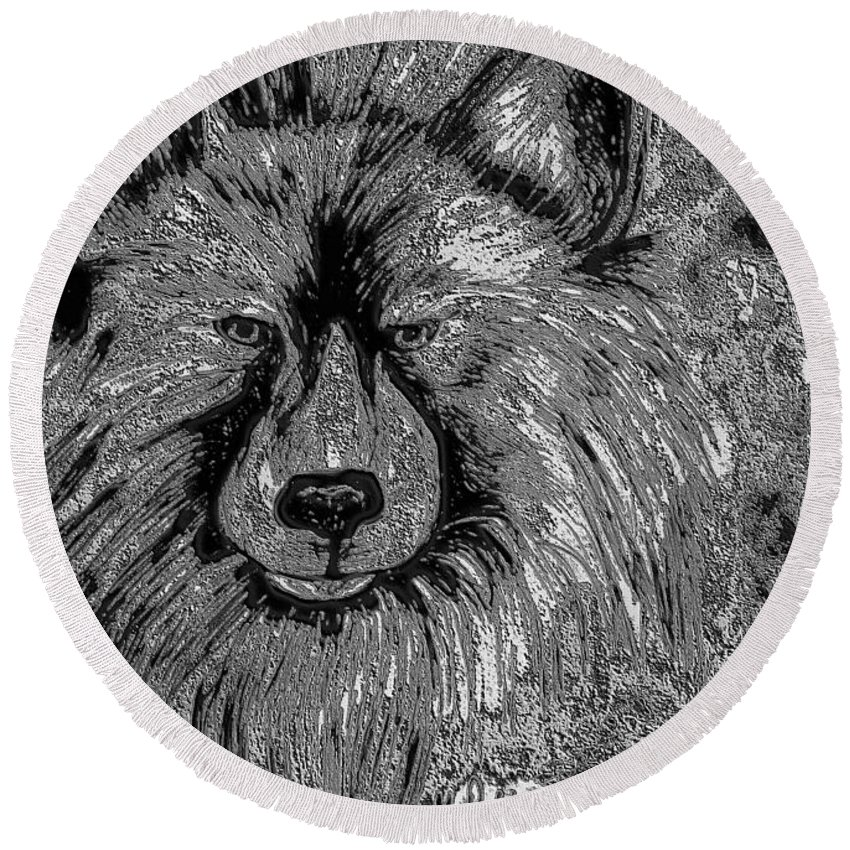 The Silver Wolf Round Beach Towel featuring the drawing The Silver Wolf by Maria Urso