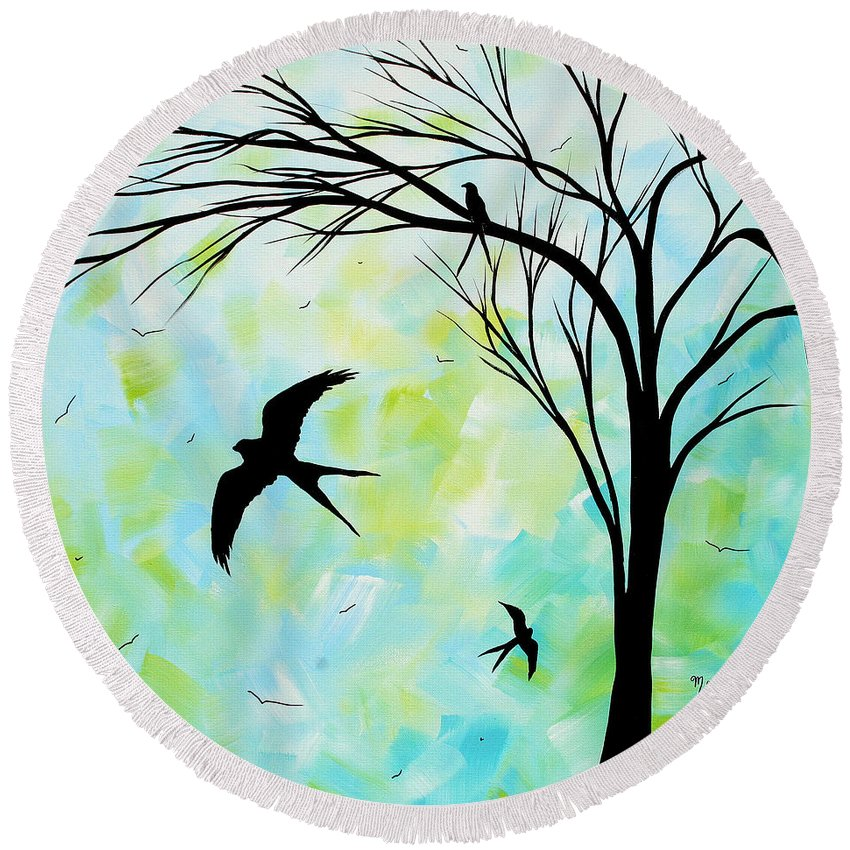 Wall Round Beach Towel featuring the painting The Simple Life By Madart by Megan Duncanson