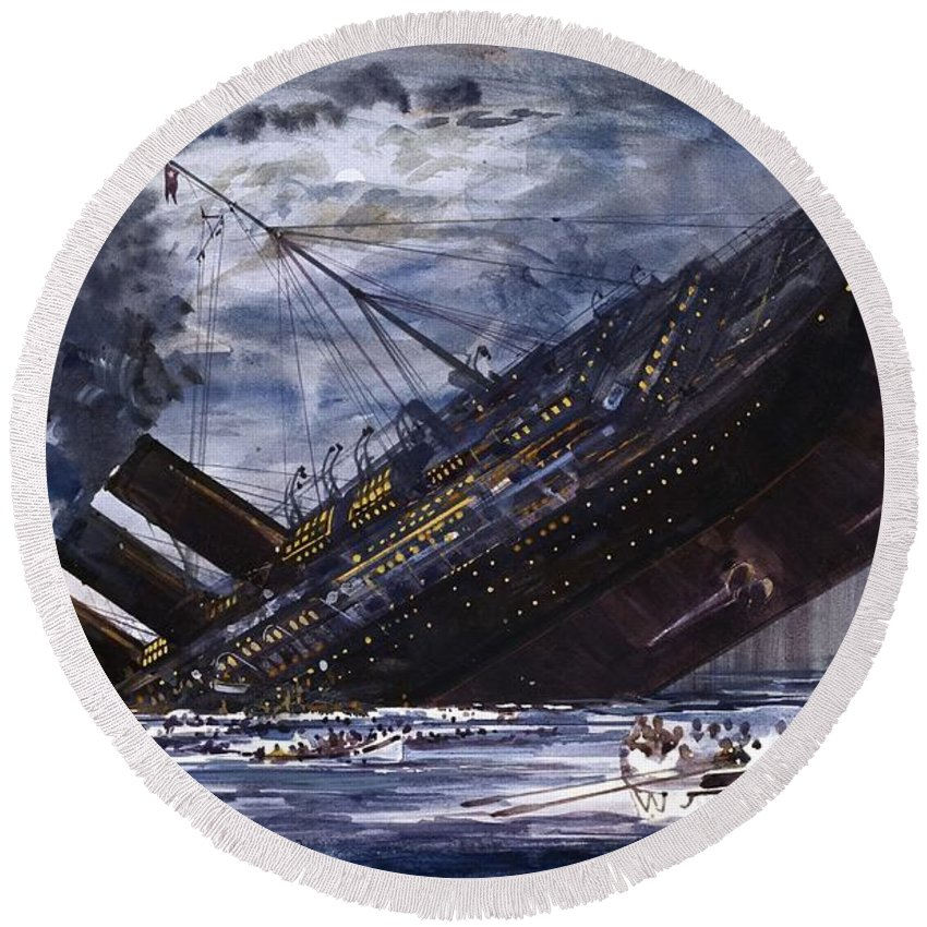 Titanic Round Beach Towel featuring the painting The Sinking Of The Titanic by Graham Coton