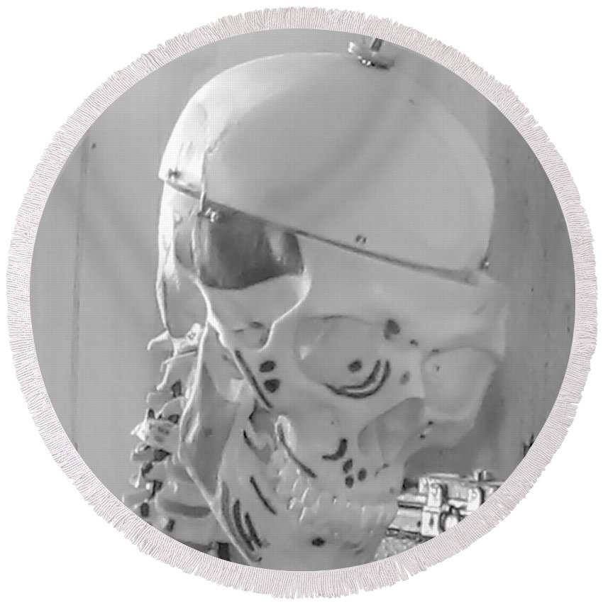Skeleton Round Beach Towel featuring the photograph The Skull by Cathy Anderson
