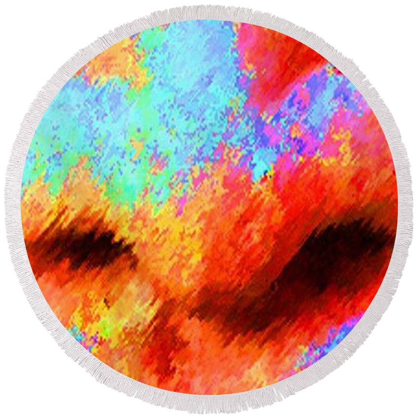 Nose Round Beach Towel featuring the painting The Smell Of Color by Jost Houk