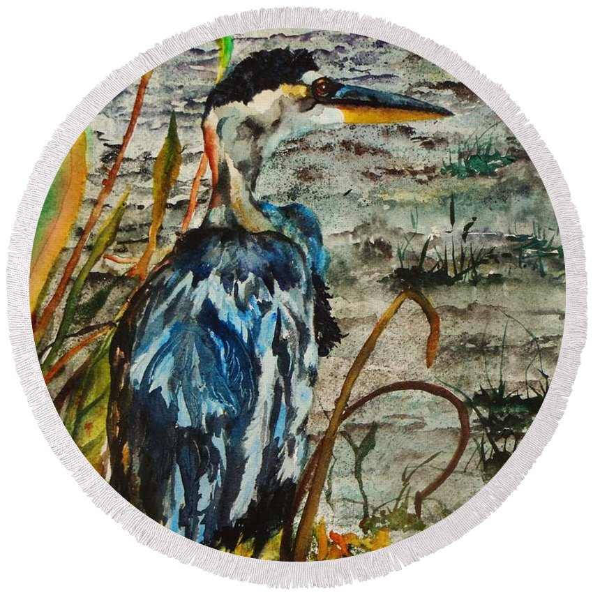 Great Blue Heron Painting Round Beach Towel featuring the painting The Soft Part Of The Day by Lil Taylor