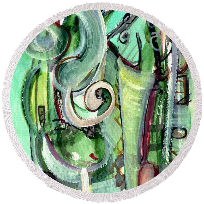 Abstract Art Round Beach Towel featuring the painting The Song by Stephen Lucas