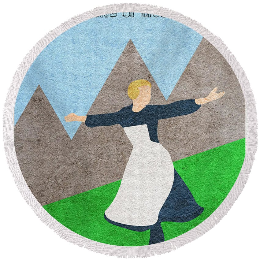 The Sound Of Music Round Beach Towel featuring the painting The Sound Of Music by Inspirowl Design