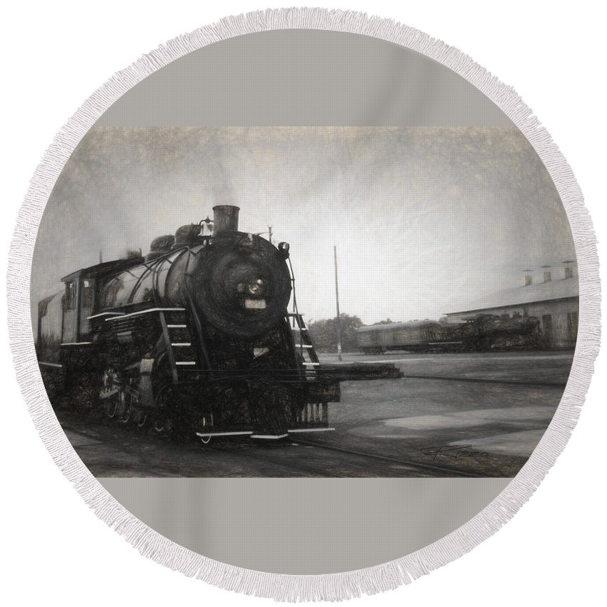 Locomotives Round Beach Towel featuring the mixed media The Spencer Yard by Richard Rizzo