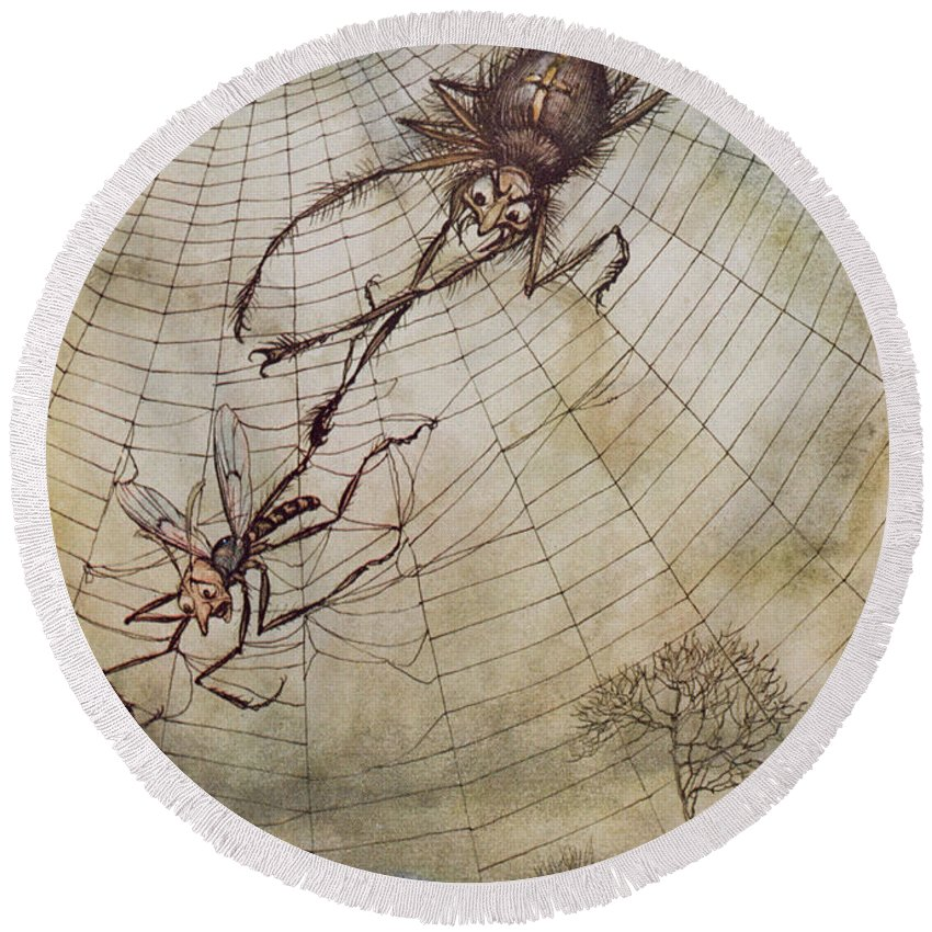 The Spider And The Fly Round Beach Towel featuring the painting The Spider And The Fly by Arthur Rackham