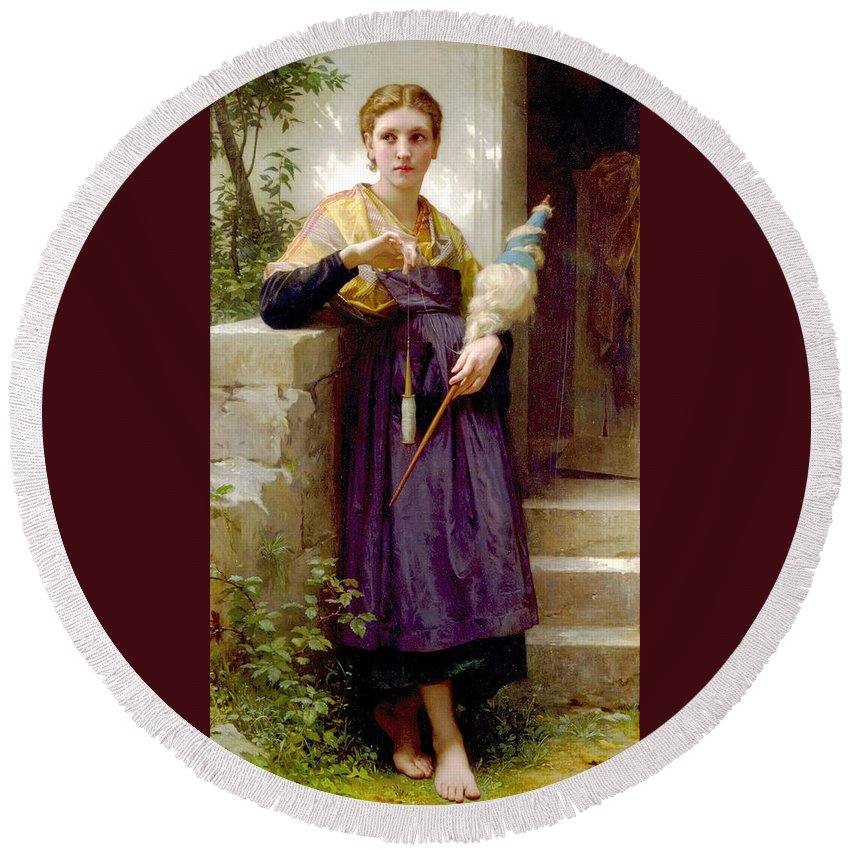 The Spinner Round Beach Towel featuring the digital art The Spinner by William Bouguereau