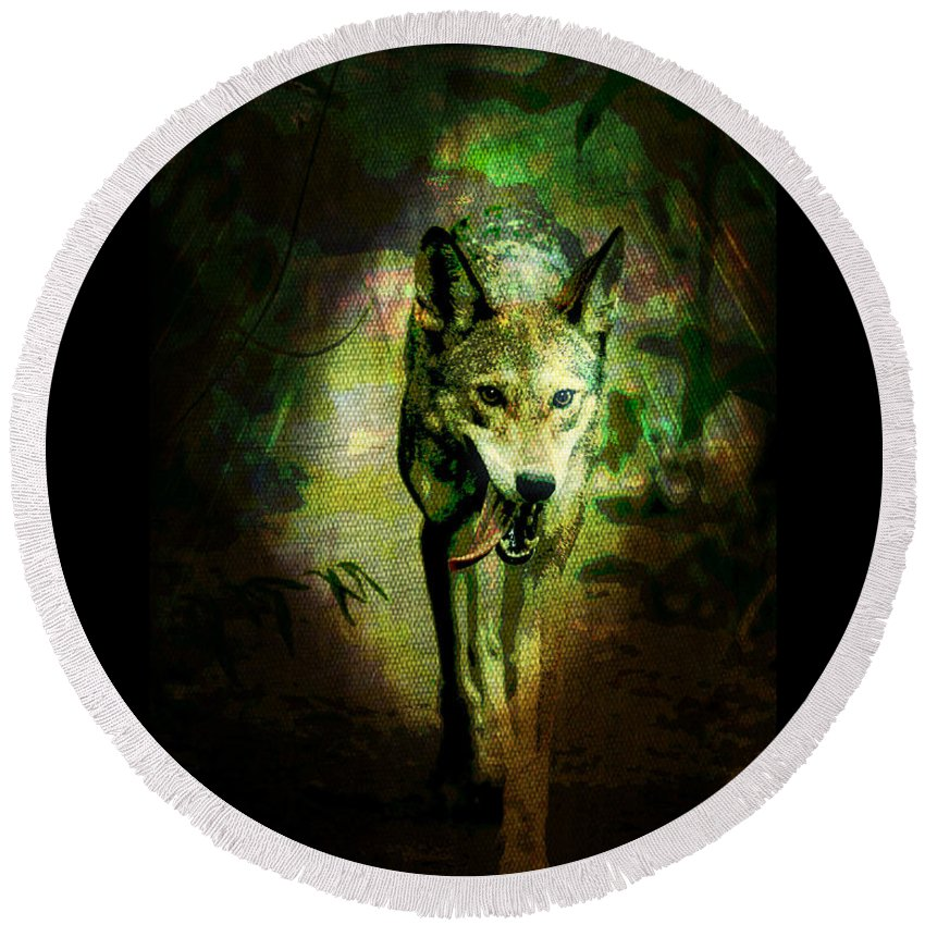 Wolf Round Beach Towel featuring the digital art The Spirit Of The Wolf by Absinthe Art By Michelle LeAnn Scott