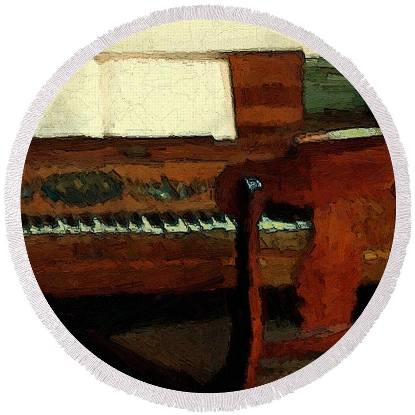 Colonial Round Beach Towel featuring the painting The Square Piano by RC DeWinter