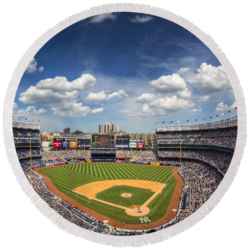 Ny Yankees Round Beach Towel featuring the photograph The Stadium by Rick Berk