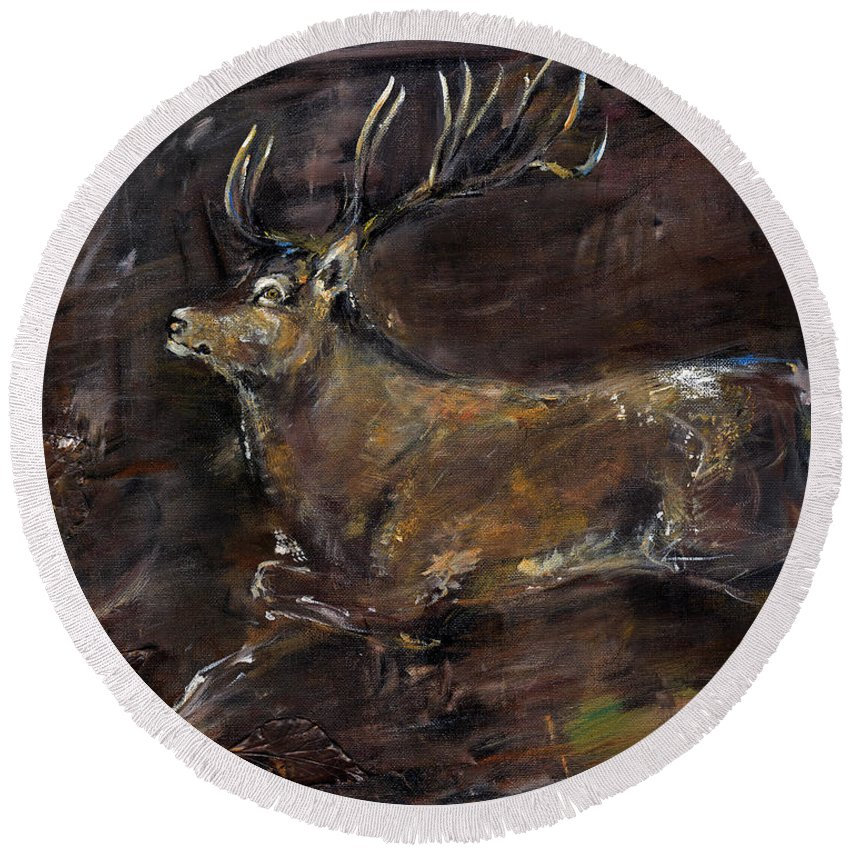 Stag Round Beach Towel featuring the painting The Stag by Angel Ciesniarska