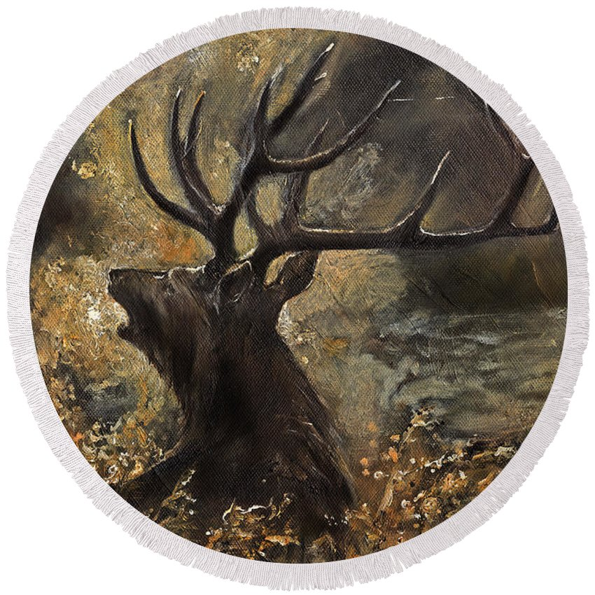 Stag Round Beach Towel featuring the painting the Stag sitting in the grass oil painting by Angel Ciesniarska
