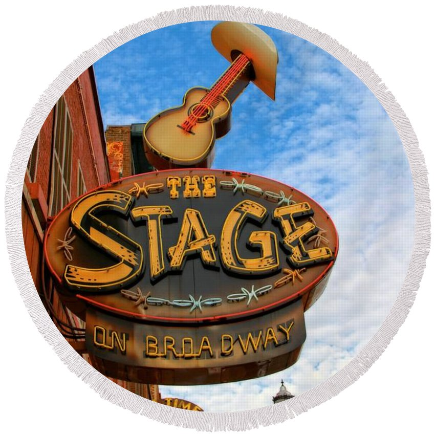 The Stage On Broadway Round Beach Towel featuring the photograph The Stage On Broadway by Dan Sproul
