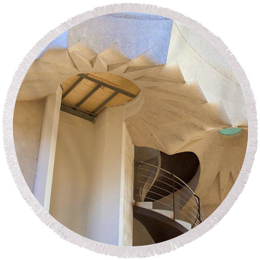 The Staircase Barcelona Round Beach Towel featuring the photograph The Staircase Barcelona by Victoria Harrington