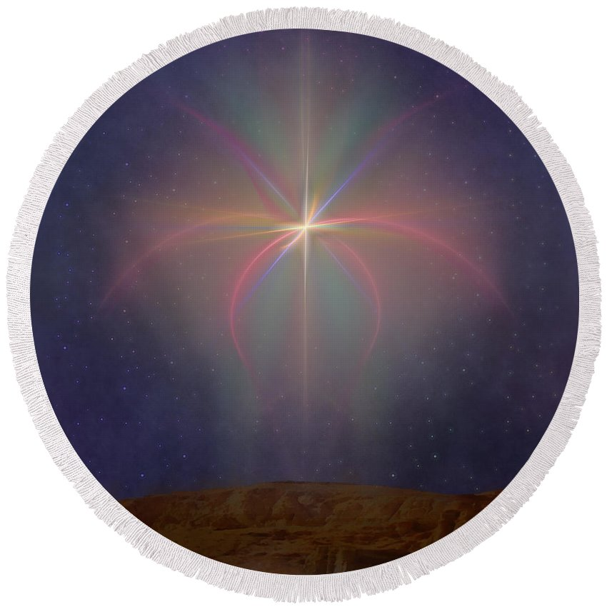 Religion Round Beach Towel featuring the digital art The Star Of Bethlehem by Diane Parnell