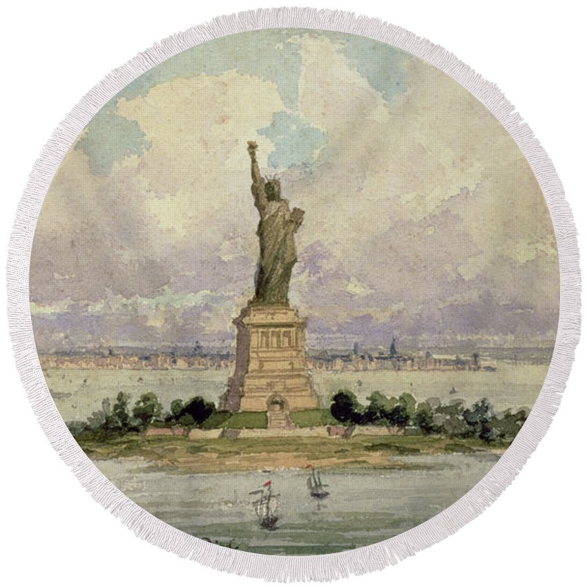 Harbour Round Beach Towel featuring the painting The Statue Of Liberty by Frederic Auguste Bartholdi