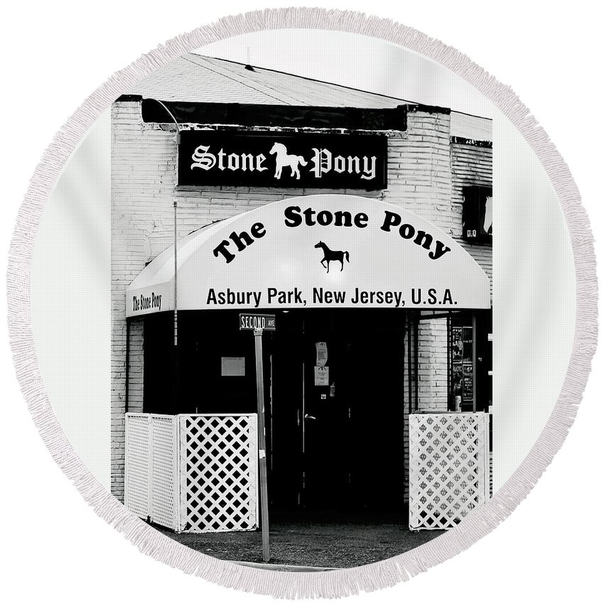 Stone Pony Round Beach Towel featuring the photograph The Stone Pony Asbury Park Nj by Terry DeLuco
