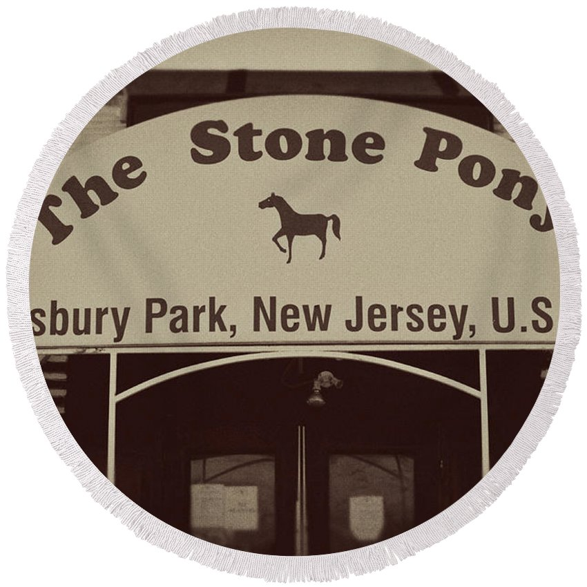The Stone Pony Vintage Asbury Park New Jersey Round Beach Towel featuring the photograph The Stone Pony Vintage Asbury Park New Jersey by Terry DeLuco