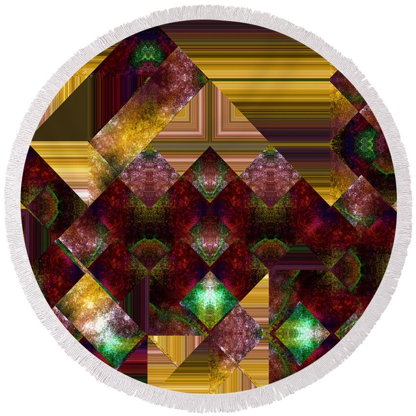 Abstract Round Beach Towel featuring the painting The Sublimation Of Desire by RC DeWinter