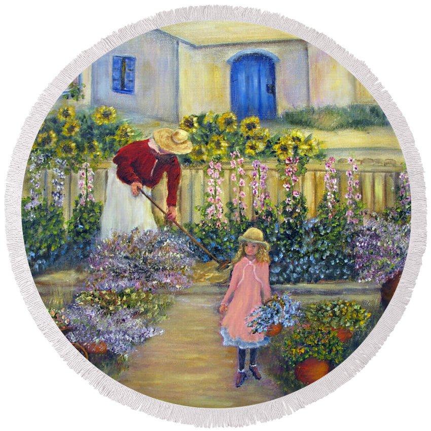 Garden Round Beach Towel featuring the painting The Summer Garden by Loretta Luglio