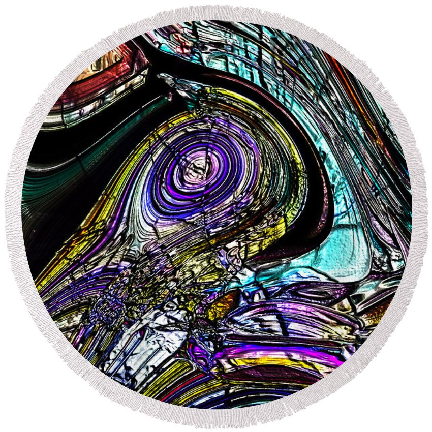 Abstract Round Beach Towel featuring the digital art The Sun Moon System by Richard Thomas